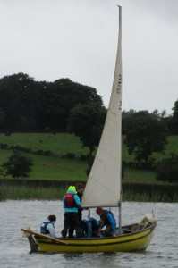 Fodhla Summer Camp Lough Lene Afric and crew rigging the BP at anchor July 2015