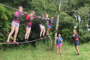 Fodhla Summer Camp Lough Lene Caoimhe and Co at the monkey bridge July 2015