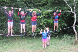 Fodhla Summer Camp Lough Lene Hanging around on the monkey bridge July 2015