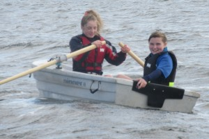 Fodhla Summer Camp Lough Lene Sadhbh and Izzy in the dinghy July 2015