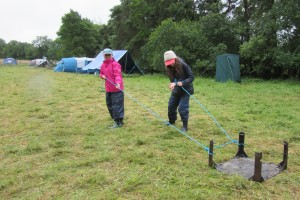 Fodhla Summer Camp Lough Lene dragging fire grates up for Watch fires July 2015