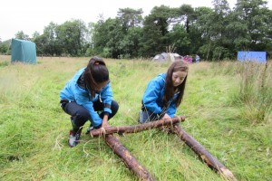 Fodhla Summer Camp Lough Lene lashing wood for Watch fires July 2015